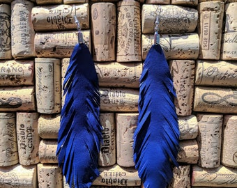 Leather Feather Earrings – Single Layer