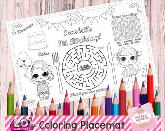 "New!!! Printable LOL Table Mat, Birthday Kids Activity Placemat, LOL Coloring, Activity Page, Printable Party Game, LOL Placemat (11""x 14"")"
