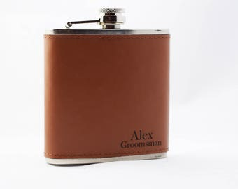 Engraved Flask, Groomsman Gift, Best Man, Father of the Bride, Leather Wrapped