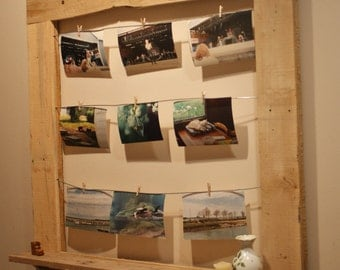 Rustic wood frame picture display with window ledge