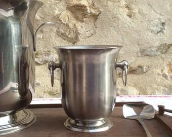 Seau  à Glaçons et cuillère à glaçons , Vintage Jean Couzon Ice Bucket and spoon, French Miniature Champagne Bucket,