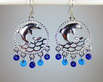 Silver Dolphin/Beads Dangle Earrings