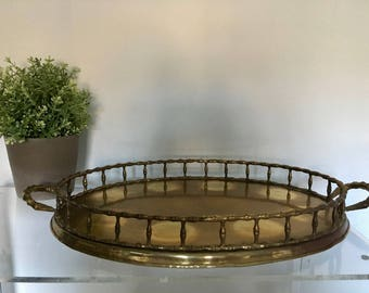 Vintage Large Brass Gold Faux Bamboo Tray with Handles Hollywood Regency Chinoiserie