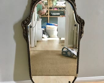Nurre Maestro Antique 1929 Beveled Wall Mirror Etched Floral Carved Ornate Wood Carved Design New Beauty