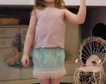 Girls Ruffle skirt Cotton and Lace, handmade and layered!