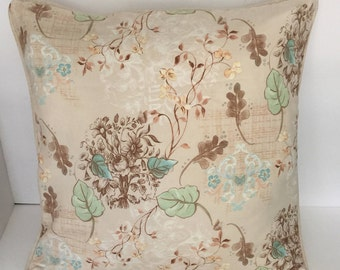 Beige leaf print pillow cover, green and brown leaves, beige back with beige welt  Upholstery fabric/ Polyester 18x18 and 20x20