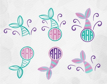 "SVG ""Mermaid Tails Monogram Bundle""  Mermaid Tail svg, Split Mermaid Monogram Svg, Mermaid SVG, Mermaid Shell Svg, Summer SVG"