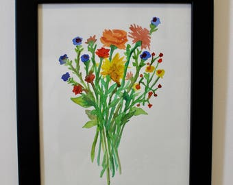 Small watercolor of wildflower bunch