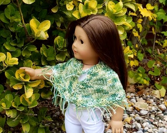 18 Inch Doll Poncho, Doll Shrug, Doll Clothes, Fall Doll Outfit, Poncho For Girl Doll, Doll Outfit, Jacket For Doll, 18 Inch Wrap, Doll Cape