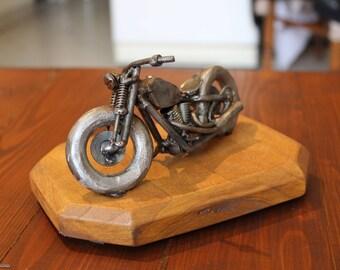 Motorcycle Harley kustom Bobber metal sculpture