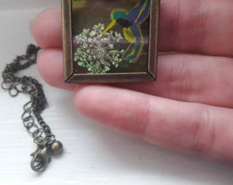 Hummingbird and Pressed Flower Stained Glass Necklace