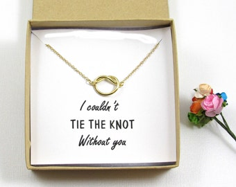 Bridesmaid Knot Necklace, Tie the Knot Necklace Bridesmaid, Gold Knot Necklace, Infinity Knot Bridesmaid Gift, Tie the Knot Jewelry.