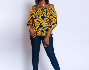 Off-shoulder, Ankara off-shoulder, African print Off-shoulder, African print top, African clothing, Ankara top, Ankara clothing, Summer top.