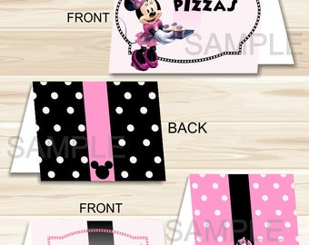 Instant Download Editable Pink and Black Minnie Mouse Food Tents/Labels