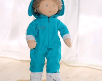 Waldorf Doll Boy Personalized Doll Soft Doll For Baby 18 Inch Doll Organic Doll in turquoise overall Doll Role Play Nature Toy Sons Gift