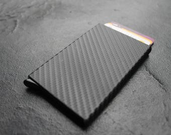 Handcrafted Carbon Fiber Slim ID Credit Card RFID Protector Holder Purse Wallet