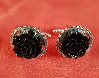 new one off steampunk silver cuff links black rose on a cog (74)