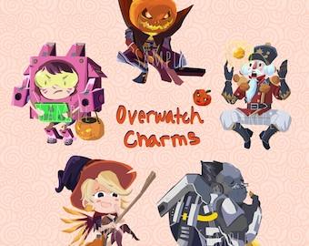 Overwatch Charm Keychain - Mercy Dva Winston Zenyatta Reaper Halloween Skin