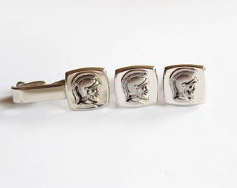 Vintage Hickok Roman Centurion Cuff Links and Matching Tie Clip; Silver Tone Metal