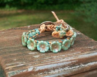 Turquoise Flower Button Bead Wrap Bracelet