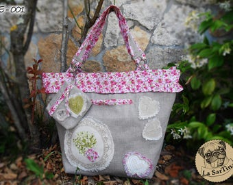 Pure linen bag Country style/Shabby-Line Flower