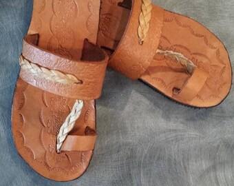 Handmade leather childs sandal
