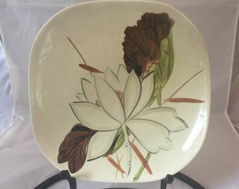 Red Wing Pottery Lotus Pattern Dinner Plate, Vintage, Shabby Chic, Mid Century