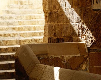 Stone stairs. Mediterranean photography. Architecture photography. Wall art. Malta.