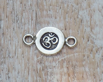 Thai Hill Tribe Om Connector, Sterling Silver Om Connector, Hill Tribe Stamped Om Link
