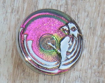 22mm Czech Glass Bird Button Pink with Green Iridescent Button