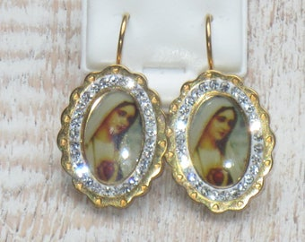 Sacred Heart Mother Mary CZ Scalloped Leverback Earrings, Religious Earrings, Mary Earrings