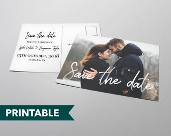 Handwritten Personalised Printed Photo Printable Save The Date Postcard Template Download