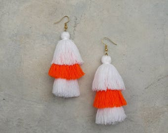 2 White & 1 orange tassel earrings,3 Layered tassel earrings,Cotton earrings.