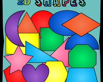2D Shapes Clipart. Circle. Rectangle. Star. Heart. Hexagon. Trapezoid. Crescent. Triangle. Diamond. PNG files.