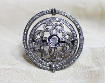Polki Diamond Ring, Diamond Ring, Round Ring, Rosecut Diamond Ring, 925 Sterling Silver Ring, 14k Gold plated Ring, Statement Ring