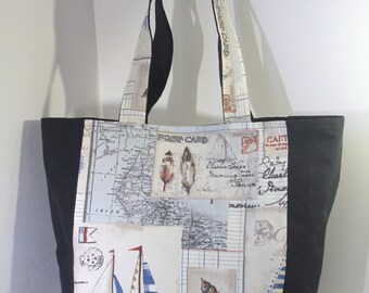 Large nautical tote bag