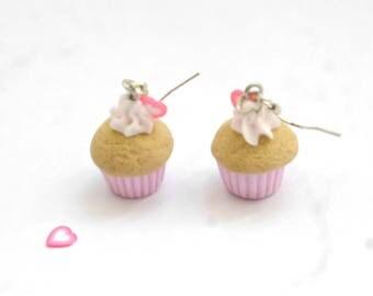 pastel pink cupcake Stud Earrings