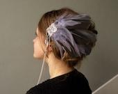 Pinces au plumes grises Costume Oiseau d'hiver pagan sorcière tribalfusion danse spectacle coiffure parure unique