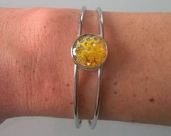 Adjustable bracelet with 14mm yellow tray