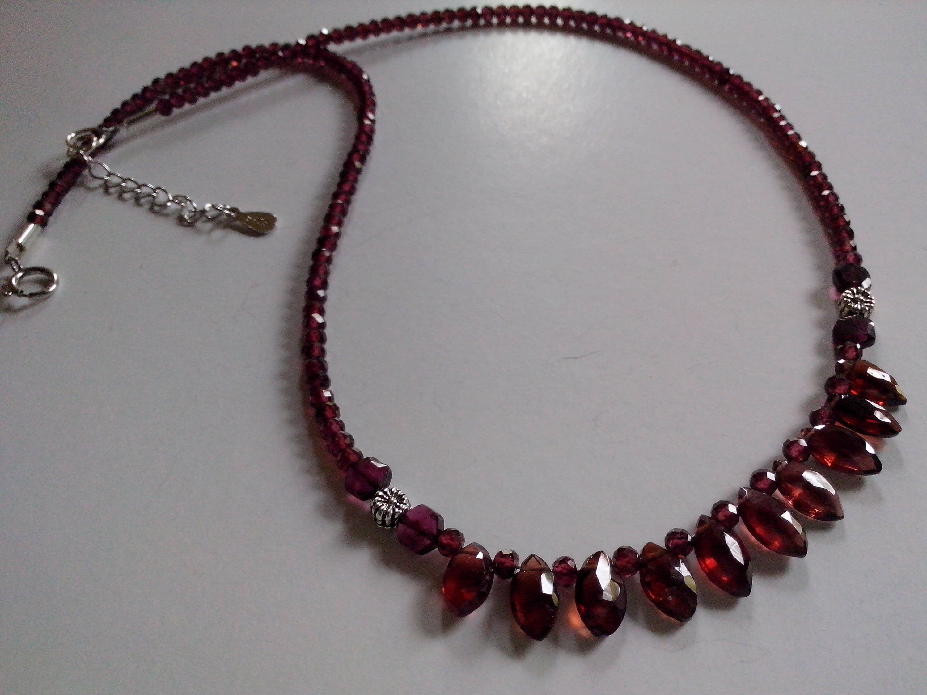 rose necklace designs with garnet pendant vermeil vasant quartz silver sterling gold products and red