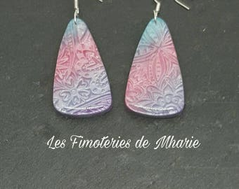 Sarcophagus mica shift polymer clay earrings