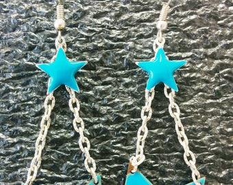 sequin earrings turquoise blue chevron + star