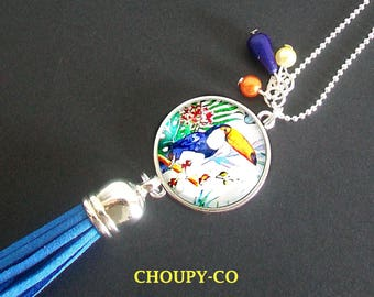 Necklace woman cabochon * exotic * toucan bird blue beads pompon silver jewel fantasy.