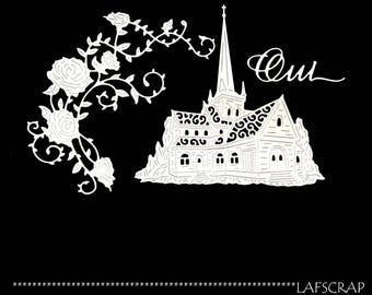 scrapbooking scrap cut-outs set Cathedral church wedding flower rose cut paper die cut embellishment wedding