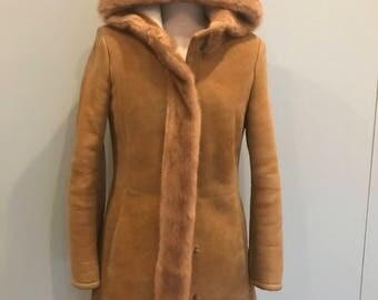 Vintage Shearling, Hooded suede coat