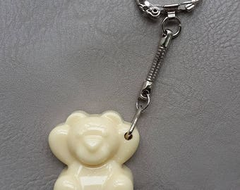 Keychain resin chocolate bear Ecru