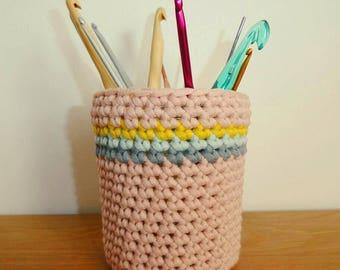 Handmade crochet pot warmer.