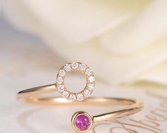 Bezel Set Open Ring Unique Cuff Ring Rose Gold Diamond Halo Circle Ruby Ring Wrap Spiral Adjustable July Birthstone  Anniversary Women Ring