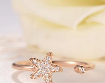 Rose Gold Open Ring Cuff Diamond Star Inspired Ring Diamond Cluster Adjustable Gift Anniversary Thin Delicate Women Birthday Unique Ring