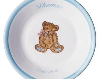 Plate porcelain boy Teddy Retro Ribbon personalized - baptism gift birthday birthstone